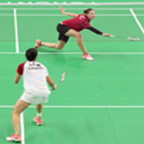 Canadians Rachel Honderich, right, and Michelle Li, compete in an all-Canadian final in women's singles badminton at the 2015 Pan Am Games in Markham, Ont. on Thursday, July 16, 2015. Li defeated Honderich in straight sets to win the gold medal. THE CANADIAN PRESS/Darren Calabrese